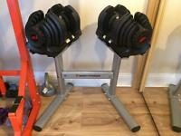 Bowflex bench and dumbells 1090