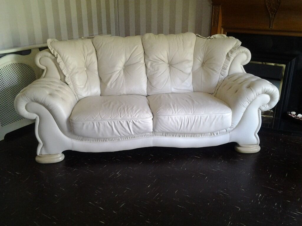 3 Seater And 2 Seater Pendragon Leather Sofas For Sale