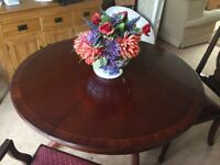 Mahogany table and chairs (extends to 6 seater)
