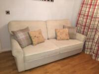 Carrie Large Sofa with High Back in Ivory With Rustic Oak Feet, Oak Furniture Land. Paid £600