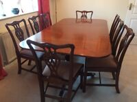 Mahogany Reproduction Extending Georgian Dining Table and Chairs