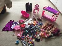 Misc Barbie stuff dolls, furniture, clothes & accessories