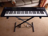 Roland D5 Synthesizer, hard and soft cases and keyboard stand