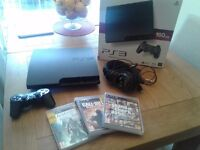 PS3 CONSOLE 3 GAMES CONTROLLER AND TURTLE BEACH HEADSET