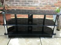 TV Stand Modern Glass Table Televisions 32 to 50 Inch Black