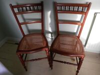 Pair of Antique Rattan Seat Chairs