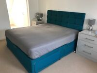 Super king size bed with draws and head board turquoise