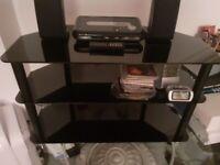 Black glass three tier TV unit