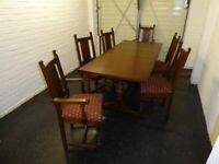 Old Charm Tudor Brown Oak Extending Table And 6 Chairs