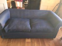 Chesterfield Three Seater Sofa - Herringbone Blue