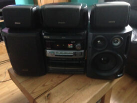 Aiwa Surround Sound Stereo Music System With Speakers Hifi CD