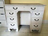 Vintage white wooden shabby chic desk/vanity table