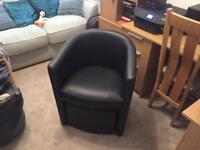 BLACK FAUX LEATHER TUB CHAIR & FOOTSTOOL