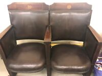 Pair of Vintage Leather Theatre Chairs