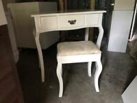 White dressing Table / make up desk and stool
