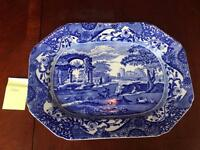Large Copeland Italian Blue Spode meat dish plate
