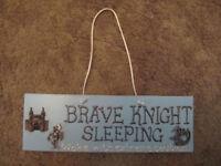 "Kid's Knights blue Door Plate ""Brave knight Sleeping"" -£2"