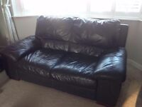 2 seater brown leather sofa in chocolate brown