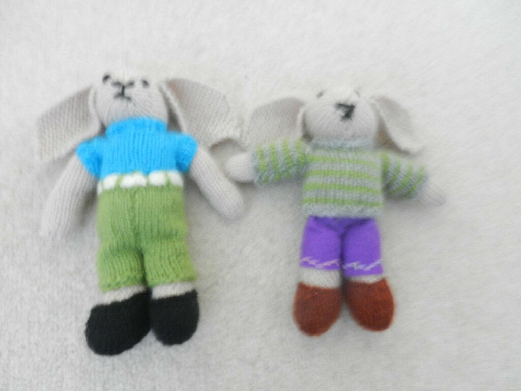 f4c9e49f8c281d 2 New Hand Knitted Rabbits with Floppy Ears