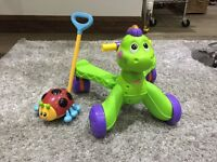 Fisher Price Stride to Ride Activity Ride On Dinosaur and lady bug push along light up