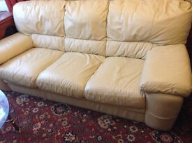 Sofa leather beigh 3 seater