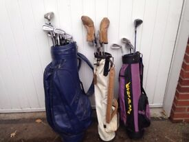 Ideal Christmas present for Dad and the Kids - 3 golf bags with a selection of clubs.