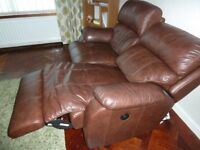LEATHER 2 SEATER RECLINER SOFA -- BROWN