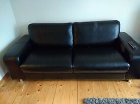 3 and 2 seater sofa black