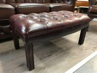 Chesterfield Footstool - Oxblood Red