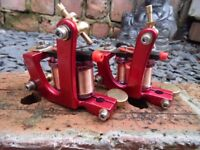 NEW PAIR OF PRO CANDY APPLE RED TATTOO MACHINES LINER & SHADER HAND WOUND COILS UK