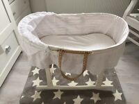 Moses basket with white rocking frame, mattress and new sheets west Belfast South belfast
