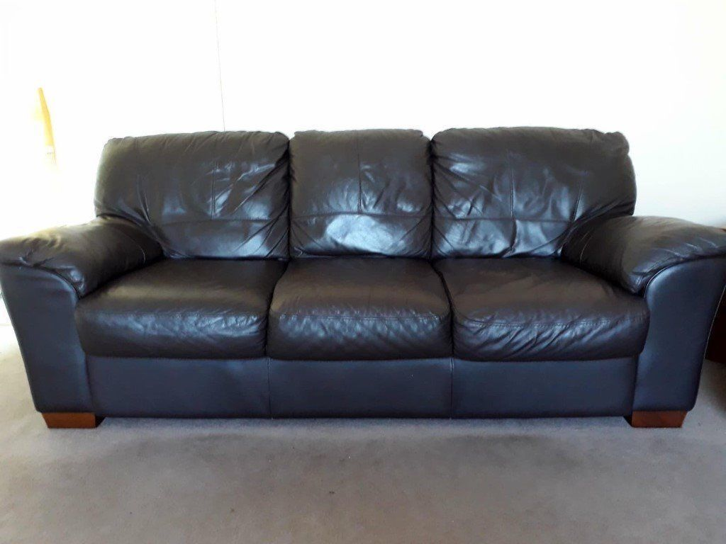 Very Nice Brown Leather 3 2 Seater Sofas Quick Must Today Fast Delivery 175