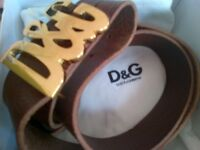 D&G Dolce Gabbana adjustable leather belt Brown (New Unused) still in the box