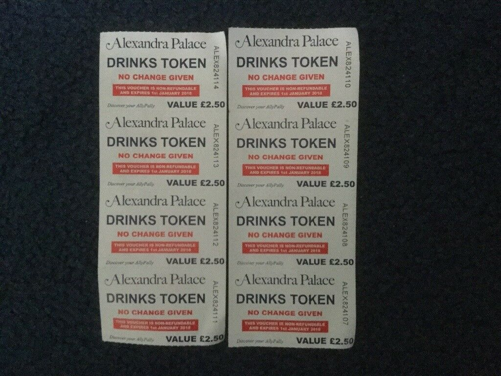 Ally Pally Darts Drinks Tokens - CHEAP BEER