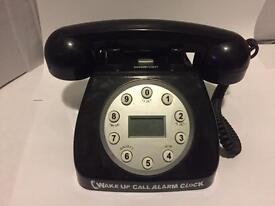 Novelty Black Telephone Shaped Alarm Clock (in box)