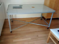 Large Modern Glass and Metal Mobile Table, Tough, Stylish, Multi-Purpose