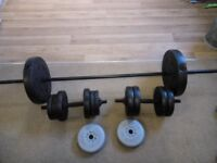 Barbell, dumbells and weights