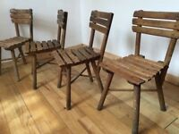 4x Antique Children's Chairs Wooden Rustic Seating Photography or Childcare Café Kids