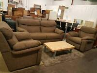 Large brown fabric two seater with armchair and electric recliner chair suite
