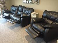 3 seater Black Leather Sofa and Chair Black