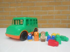 (256) Mega Bloks Maxi Green Bus (11 pieces) for children aged 1-6 years