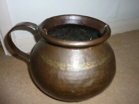 Beautiful vintage extra large hammered copper mug planter