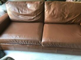 NEXT 3 seater brown leather sofa