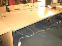 METAL FRAMED WOODEN TOPPED OFFICE DESK / TABLE / WORKSTATION - MORE AVAILABLE