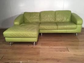 Green real leather corner sofa with free delivery within 10 miles