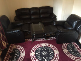 leather sofa set with recliner.