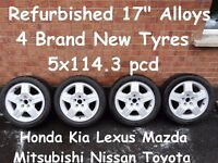 "Refurbished 17"" Alloys 4 New Tyres 5x114.3pcd Honda Lexus Mazda Nissan Toyota"