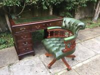 ANTIQUE STYLE DESK AND CHESTERFIELD LEATHER OFFICE CHAIR