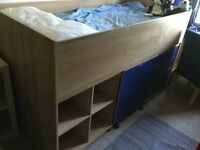 Blue Cabin mid sleeper with integral storage, desk and drawers for sale