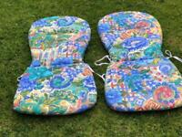 GARDEN PATIO CHAIR CUSHIONS/SEAT PADS X 2 REVERSIBLE DESIGN